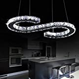 LOCO Luxury Modern LED Ceiling Light K9 Crystal Stainless Steel Pendant Lighting Dining Room Chandelier Contemporary Adjustable Stainless Steel Cable (S Design)