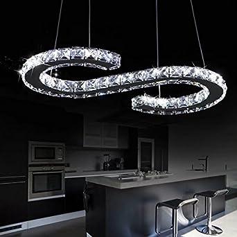 Loco Luxus Moderne Led Deckenleuchte K9 Kristall Edelstahl
