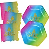 """24 Count Rainbow Birthday 9"""" Dinner Plates and 13'' Luncheon Napkins Set Disposable Paper Party Pack Supplies with Gold Metallic Foil for Guest Celebration Decorations"""