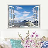 ufengke 3D Special Effects Arctic Ocean Polar Bear In The False Window Wall Decals, Living Room Bedroom Removable Wall Stickers Murals
