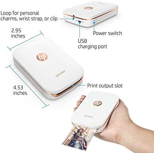 HP Sprocket Photo Printer, Print Social Media Photos on 2x3 Sticky-Backed Paper (White) + Photo Paper (10 Sheets) + USB Cable with Wall Adapter ...