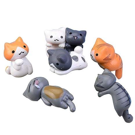 Provide The Best 6pcs / Set DIY del Gato del jardín Miniatura Animal de la Historieta