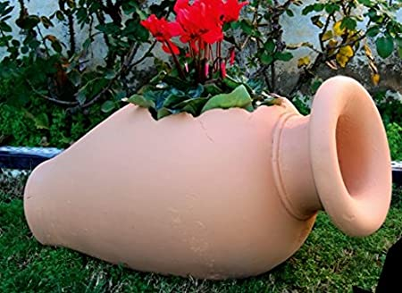 DEGARDEN Tinaja de decoración del jardín en Color y Acabados Terracota Barro cocido en Piedra Artificial (Hormigón) para Exterior | Maceta orza 85X40cm.: Amazon.es: Jardín