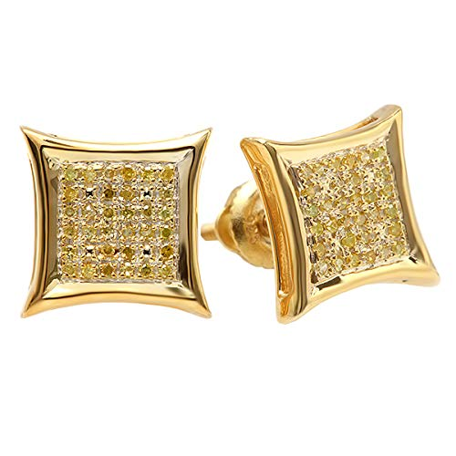 Dazzlingrock Collection 0.15 Carat (ctw) 10K Yellow Round Diamond Micro Pave Setting Kite Shape Stud Earrings, Yellow Gold