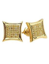0.15 Carat (ctw) Yellow Round Diamond Micro Pave Setting Kite Shape Stud Earrings