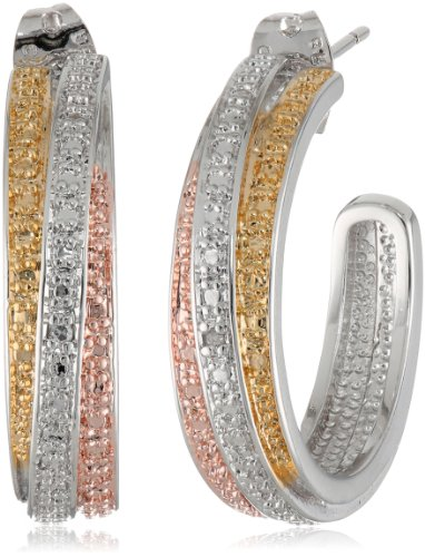 White Gold Loose 18k Diamonds - Tri-Tone Plated Bronze Diamond Accent C-Hoop Earrings