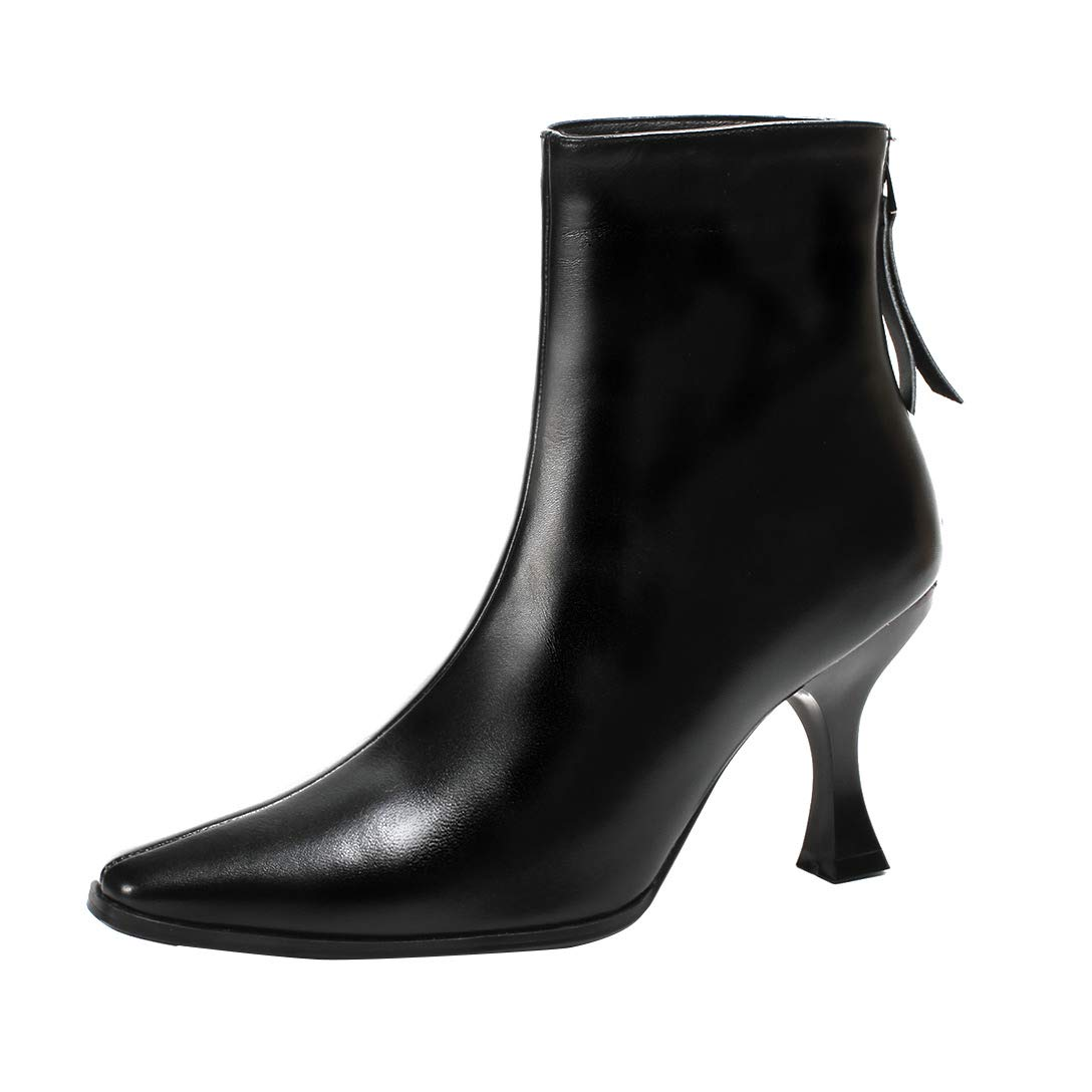 Black MAYPIE Womens Toalpha Leather Zipper Ankle Boots