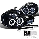 Piano Black Dodge Plymouth Neon Halo Projector Headlight+Led Fog Lamp Drl