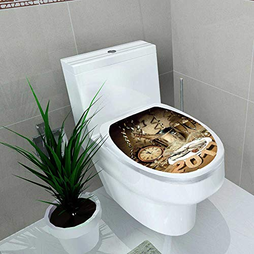 Bathroom Toilet seat Sticker Decal New Year Holiday Table Sett Champagne Celebration Place Decal Sticker Vinyl W14 x L14