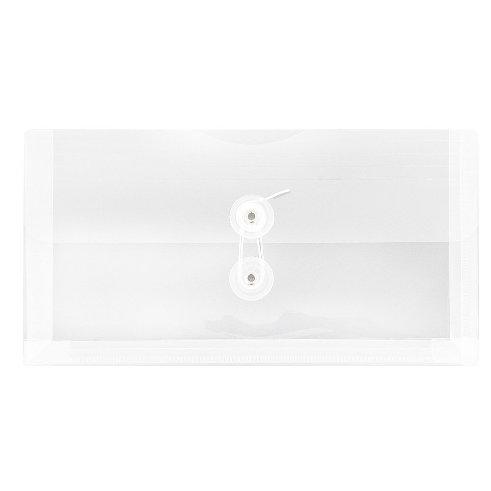 JAM PAPER Plastic Envelopes with Button & String Tie Closure - #10 Business Booklet - 5 1/4 x 10 - Clear - 12/pack