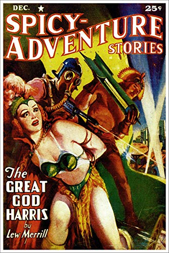- Spicy Adventure Stories The Great God Harris Vintage Pulp Magazine Cover Retro Art Poster - 18x24