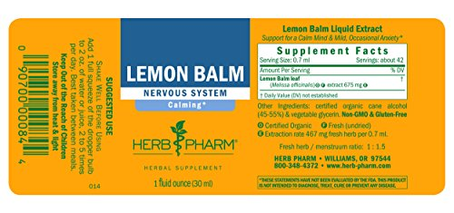 090700000844 - Herb Pharm Lemon Balm Extract for Calming Nervous System Support - 1 Ounce carousel main 6