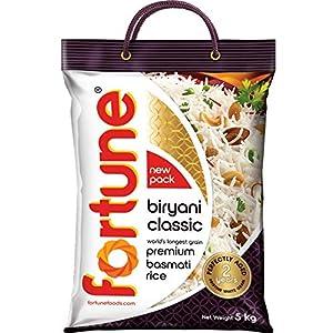 Fortune Biryani Classic, Premium basmati Raw Rice, Aged for 2 Years, 5 kg