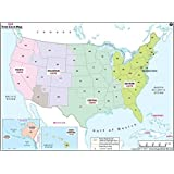 Amazoncom US And World Maps With Time Zones Learning Card - Map us timezones