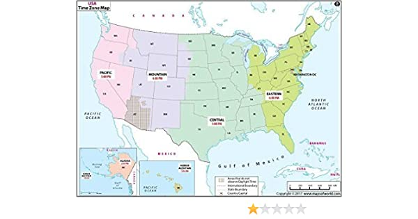 Amazoncom Us Time Zone Map Laminated 36 W X 236 H Office - Us-map-of-timezones