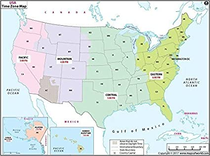Time Zone Map Of The Us Amazon.: US Time Zone Map   Laminated (36