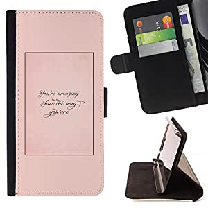 """For Samsung Galaxy E5 E500,S-type Apenas la manera usted es Cita Peach"""" - Dibujo PU billetera de cuero Funda Case Caso de la piel de la bolsa protectora"""