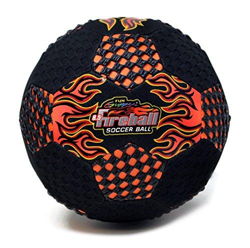 Fun Gripper 8.5 Fireball Orange Soccer ball (Black suede Foam) (PERFECT FOR INDOORS) W/Fun Gripper Embossed Flames -Orange By: Saturnian I - Gripper Soccer Ball
