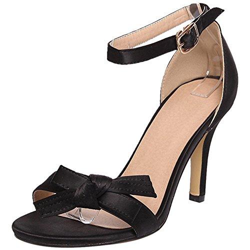 TAOFFEN Women Ankle Strap Sandals Wedding Black 6yg2Gd