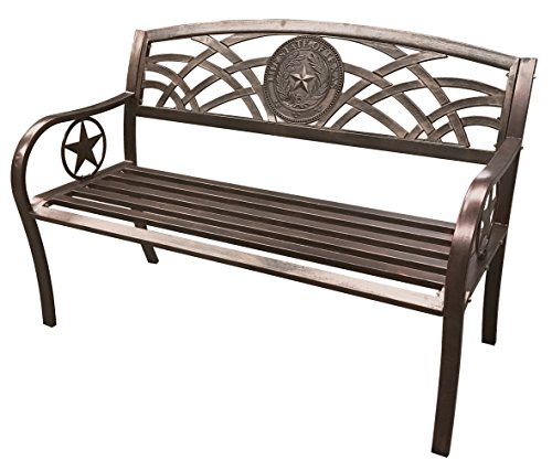 - Leigh Country TX 93545 Texas State Seal Metal Bench