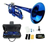 Merano B Flat BLUE / Silver Trumpet with Case+Mouth Piece+Valve Oil+Metro Tuner+Stand