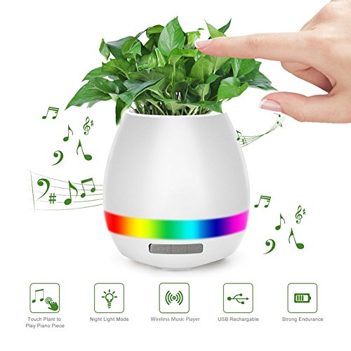 Music Flowerpot Smart Festival Gift Flower Pot Touch Piano Music Playing Rechargeable Wireless Flower Pots with Night Light for Office Home Décor (without plant) (White) (Halloween Music To Play On Piano)