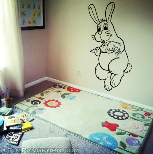 (Cute Hopping Bunny with Carrot Vinyl 30 inch Wall Decal Home Decor Black Kids Bedroom Nursery Easter Happy Baby White Rabbit Decor Peter Cottontail )