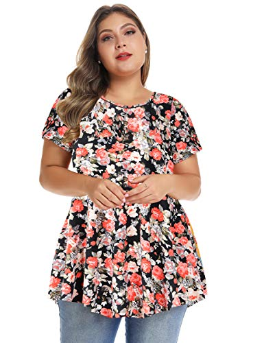 MONNURO Womens Short Sleeve Casual Loose Fit Flare Swing Tunic Tops Basic T-Shirt Plus Size(Floral01,5X)
