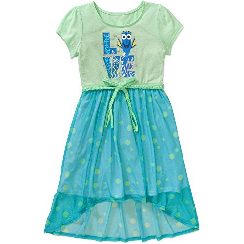 Finding Dory Disney Pixar Girls Love Hi-Low Belted Dress Blue/Green                    -