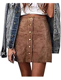 Women's Junior High Waist Faux Suede Button Closure Plain A-line Mini Short Skirt