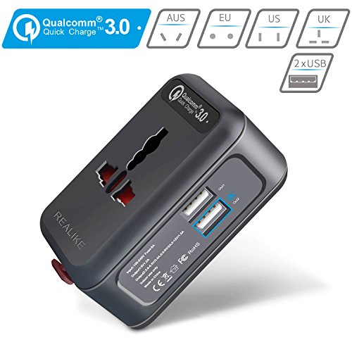 QC3.0 Fast USB Charger, Realike Worldwide Travel Adapter, All In One Universal...