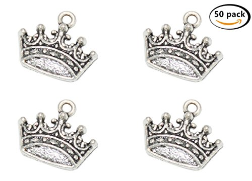 Yansanido Pack of 50 Alloy Crown Shape 15x18mm Charms Pendants for Making Bracelet and Necklace or Zipper pendant cellphone pendant (Crown 50pcs silver)