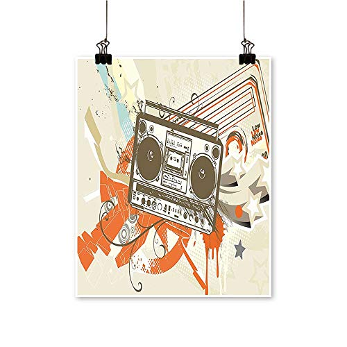 Single paintingStyle Urban Background in Graffiti Style with Cool Boom Box Illustration Beige and Office Decorations,24