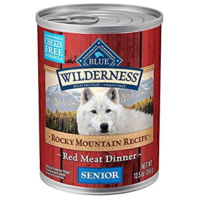 Blue Buffalo Wilderness Rocky Mountain Recipe High Protein Grain Free, Natural Senior Wet Dog Food, Red Meat 12.5-oz can (pack of 12)