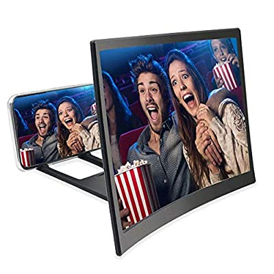 Fodow Screen Magnifier 12'' 3D HD Curve Screen Amplifier Projector Magnifying Screen Enlarger for Movies Videos and Gaming with Foldable Stand Compatible with All Smartphones