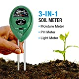 Soil pH Meter, 3-in-1 Soil Tester Moisture Meter, Light and PH acidity Tester, Plant Soil Tester Kit, Great For Garden, Farm, Lawn, Indoor & Outdoor (No Battery needed)