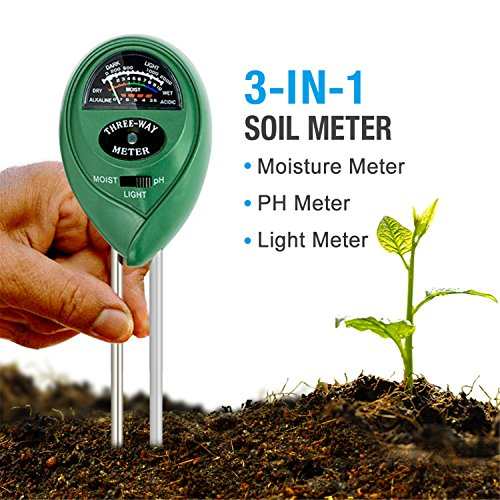 Soil pH Meter, 3-in-1 Soil Tester Moisture Meter, Light and PH acidity Tester, Plant Soil Tester Kit, Great For Garden, Farm, Lawn, Indoor & Outdoor (No Battery needed) - Couture 1 Light