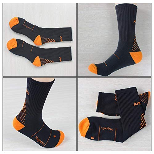IMITOR Men Women Cushion Crew Hiking Socks Arch Compression No Blister Breathable Moisture Wicking for Outdoor Sports Cycling Running Walking Trekking Camping Gym - Free Size 3 Pairs (Black Orange)
