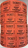 Ticket Guru-Raffle Tickets - (4 Rolls of 2000 Double Tickets) 8,000 Total 50/50 Raffle Tickets {Choose color combo below} ((4) ORANGE rolls)