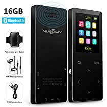 MP3 Player, 16GB Bluetooth Music players with FM Radio/ Voice Recorder,HIFI Lossless Sound Quality , Metal, Alarm Clock,Touch button , HD Sound Quality Earphone , 2018 latest models ,with an Armband, Black…