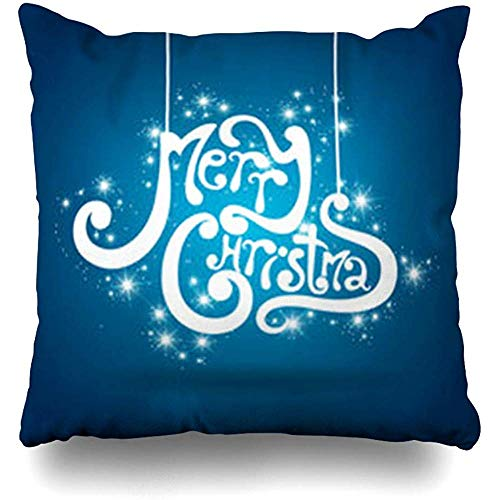 (Throw Pillow Covers Pillowcase Blue Text Merry Christmas Art Holidays Greeting Xmas Creative Message Letter Square Size 18 x 18 Inches Home Decor Cushion Cases )