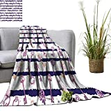 YOYI Blanket as Bedspread Old Medieval Vintage Keys with Ribbons and Diamonds Striped