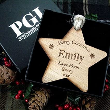Christmas Gifts For Her Uk.Female Christmas Gift Wooden Star For Her Personalised Christmas Decoration Free Gift Box Personalised Xmas Star Christmas Gifts For Her