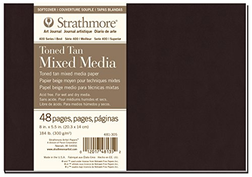 Strathmore (481-305 400 Series Softcover Toned Tan Mixed Media Art Journal, 8''x5.5'', 24 Sheets by Strathmore