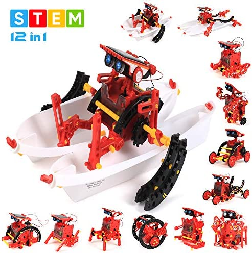 GobiDex Solar Robot STEM Toys 12-in-1 Educational Toys for Boys and Girls Age 8 and Up190 PCS DIY Building Science Experiment Kits Gift for Kids 10-12Solar Robot Kits Powered by The Sun