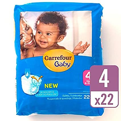 Carrefour bebé Ultra Dry Pull On tamaño 4 Carry Pack 22 por paquete