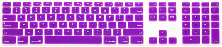 Silicone Full Size Ultra Thin Keyboard Cover Skin for Keyboard A1243 Mb110Ll//B with Numeric Keypad Wired USB for iMac,Fade Pink
