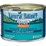 Natural Balance Puppy Formula Canned Wet Dog Food, Original Ultra Whole Body Health, Chicken, Duck & Brown Rice Formula, 6-Ounce Can (Pack of 12)