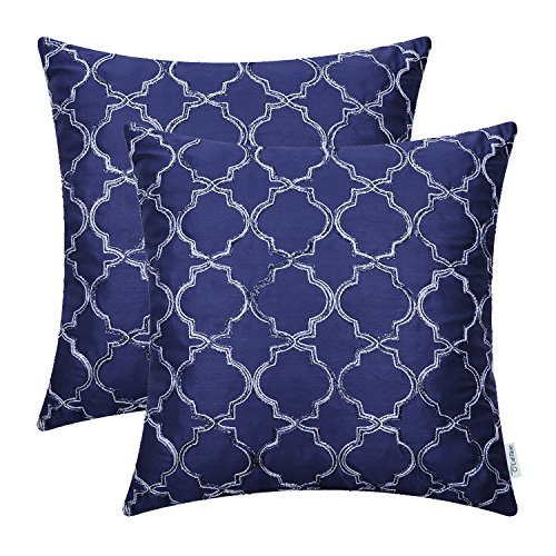 CaliTime Pack of 2 Faux Silk Throw Pillow Covers Cases for Sofa Couch Home Decoration 18 X 18 Inches Gradient Quatrefoil Accent Geometric Chain Embroidered Navy Blue