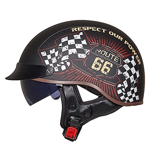 LIXIAOHONGG Volwassen Halve Helm,Vintage Jet-Helm Halve Helm,Mannen En Vrouwen DOT/ECE Goedgekeurd Vintage Locomotief…